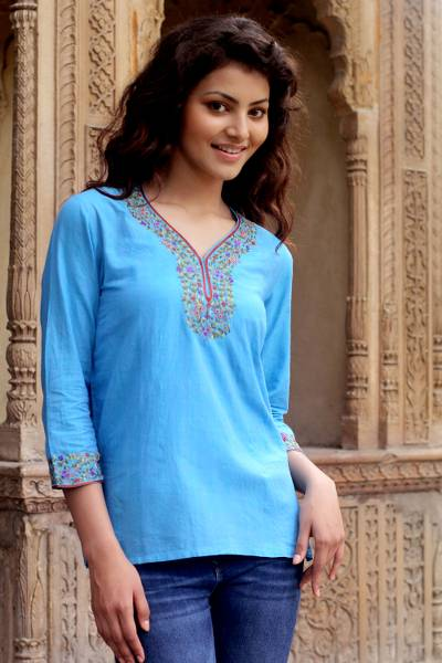 Cotton blouse, 'Blue Floral' - Cotton blouse