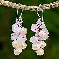 Pearl and rose quartz cluster earrings, 'Pink Bouquet' - Pearl and rose quartz cluster earrings