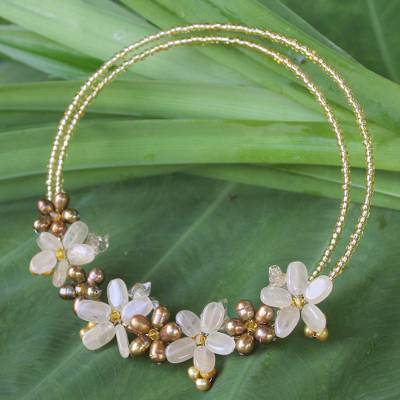 Pearl and citrine choker, 'Sukhothai Bouquet' - Pearl and citrine choker