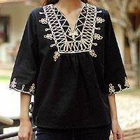 Cotton blouse, 'Night Dance' - Cotton blouse