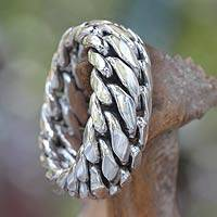 Men's sterling silver ring, 'Sanca Kembang Python' - Men's sterling silver ring