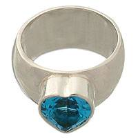 Blue topaz solitaire ring, 'Heart Voice' - Blue topaz solitaire ring