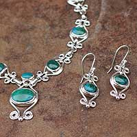 Chrysocolla jewelry set,