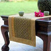 Silk and cotton table runner, 'Banana Leaf' - Silk and cotton table runner