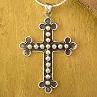 Sterling silver cross necklace, 'Promise' - Sterling Silver Cross Necklace from Indian Artisan