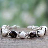 Pearl and smoky quartz link bracelet, 'Goddess' - Pearl and smoky quartz link bracelet