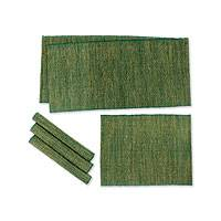 Natural fibers and cotton table runner and placemats, 'Nature of Green' (set of 4) - Natural fibers and cotton table runner and placemats (Set of