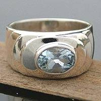 Men's blue topaz ring, 'Whirlpool' - Men's blue topaz ring