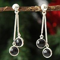 Onyx dangle earrings, 'Andean Duet' - Onyx dangle earrings