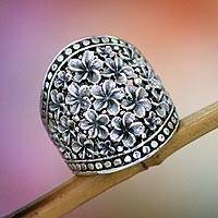 Sterling silver flower ring, Frangipani Nights