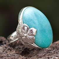 Amazonite flower ring, 'Heaven' - Amazonite flower ring