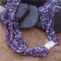 Amethyst torsade necklace, 'Jacaranda' - Amethyst torsade necklace