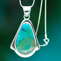 Opal pendant necklace, 'Lagoon' - Andean Opal and Silver 950 Pendant Necklace
