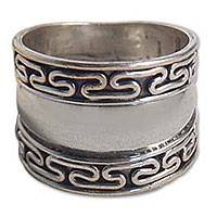 Mens sterling silver ring, Empire