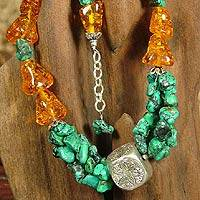 Amber and turquoise beaded necklace, 'Sunset Extravaganza' - Chunky Amber and Turquoise Beaded Necklace