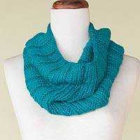 Alpaca blend neck warmer, 'Cozy Turquoise' - Alpaca blend neck warmer