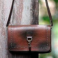 Leather shoulder bag, 'Java Chic' - Leather shoulder bag