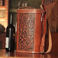 Leather wine bottle case, 'Colonial' - Leather Wine Bottle Carrier with Adjustable Strap