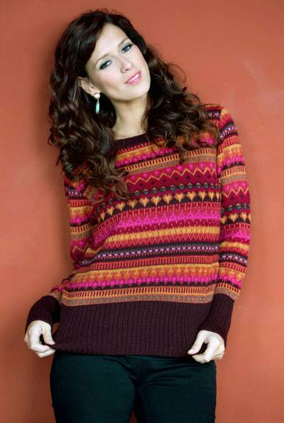 100% alpaca sweater, 'Fiesta in Cuzco' - 100% alpaca sweater
