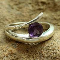 Amethyst solitaire ring, 'Dazzling Love' - Amethyst solitaire ring