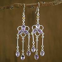Amethyst and citrine waterfall earrings,