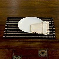 Cotton placemats and napkins, 'Night Wind' (set for 2) - Cotton placemats and napkins