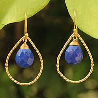 Gold vermeil lapis lazuli earrings,