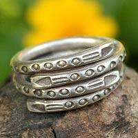 Sterling silver wrap ring, 'Hill Tribe Spiral' - Sterling silver wrap ring