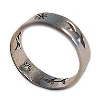 Sterling silver band ring, 'Shark Journey' - Sterling silver band ring