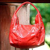 Leather hobo bag, 'Ubud Horizon' - Leather hobo bag