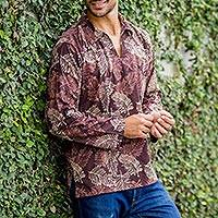 Men's cotton batik long sleeve shirt, 'Desert Breeze' - Men's cotton batik long sleeve shirt