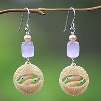 Pearl and kunzite dangle earrings, 'Herons in Harmony' - Pearl and kunzite dangle earrings