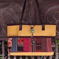 Cotton shoulder bag, 'Hill Tribe Yellow' - Cotton shoulder bag