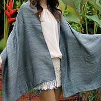 Cotton shawl, 'Cool Spruce' - Cotton Shawl in Natural Blue Spruce Hue