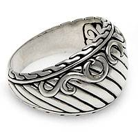 Men's sterling silver ring, 'The Walls of Heaven' - Men's sterling silver ring