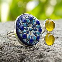 Sterling silver and ceramic wrap ring, 'Blue Sun' - Sterling silver and ceramic wrap ring