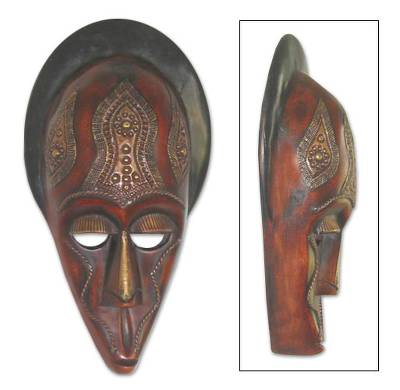 Ghanaian wood mask, 'Wrestler's Strength' - African wood mask