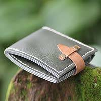 Men's leather wallet, 'Java Green' - Men's leather wallet