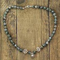 Moss agate beaded necklace, 'Star of Delhi' - Moss agate beaded necklace