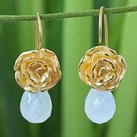 Gold vermeil and moonstone earrings,