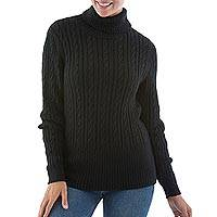 Alpaca sweater, 'Midnight Warmth' - Alpaca sweater