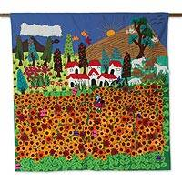 Applique wall hanging, 'Ancash Fields of Sunflowers'