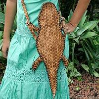 Leather shoulder bag, 'Amazon Alligator' - Leather shoulder bag