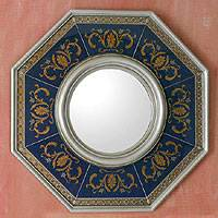 Reverse painted glass wall mirror, 'Azure Elegance' - Blue and Gold Reverse Painted Glass Wall Mirror