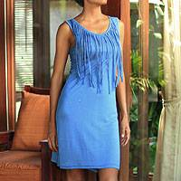 Jersey dress, 'Blue Shimmy' - Jersey dress