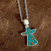 Chrysocolla pendant necklace,