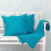 Cotton throw and cushion covers, 'Jaipur Turquoise' (3 pieces) - Cotton throw and cushion covers,Jaipur Turquoise(3 piece