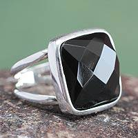 Obsidian cocktail ring, 'Lima Treasure' - Obsidian cocktail ring