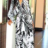 Silk robe, 'Palm Frond Shadow' - Balinese Artisan Crafted Black and White Floral Silk Robe