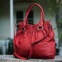 Leather hobo handbag, 'Crimson Carnation' - Leather hobo handbag